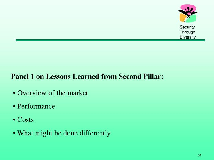 Panel 1 on Lessons Learned from Second Pillar:
