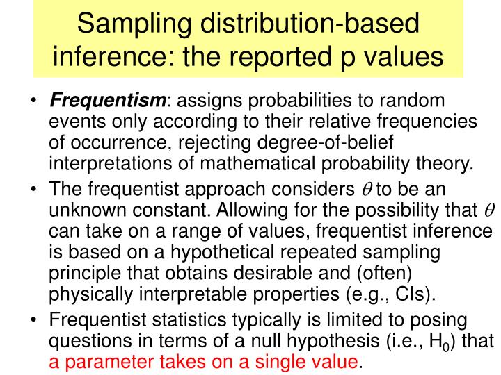 Sampling distribution-based inference: the reported p values