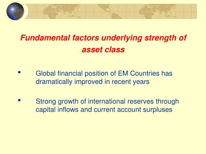Fundamental factors underlying strength of asset class