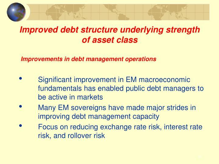 Improved debt structure underlying strength of asset class