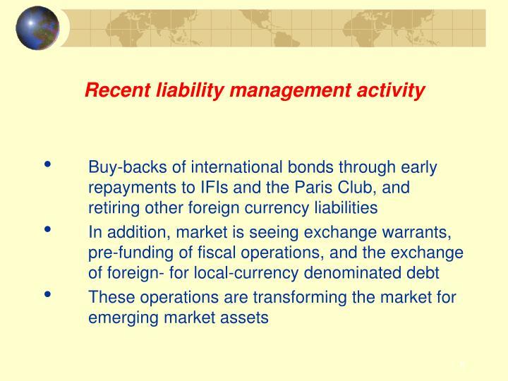 Recent liability management activity