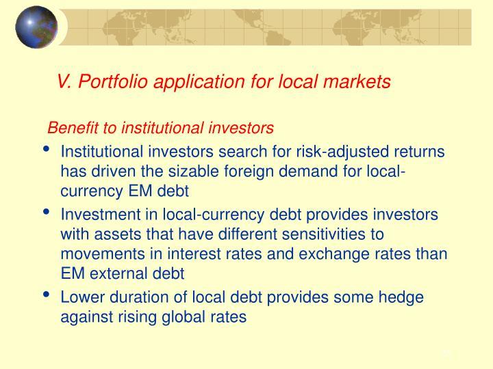 V. Portfolio application for local markets