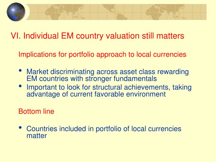 VI. Individual EM country valuation still matters