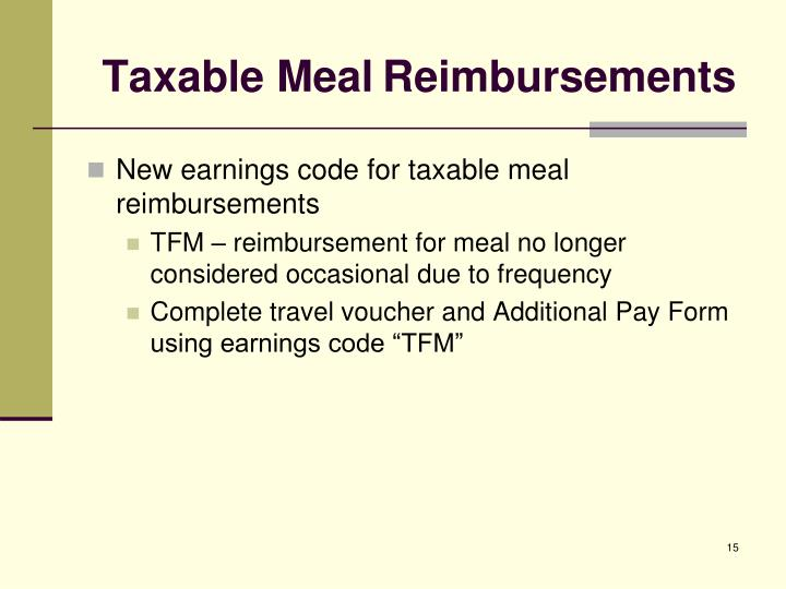 Taxable Meal