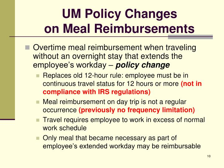UM Policy Changes