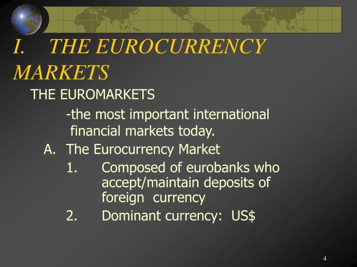 I.THE EUROCURRENCY MARKETS