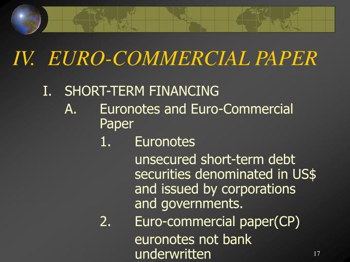 IV.EURO-COMMERCIAL PAPER