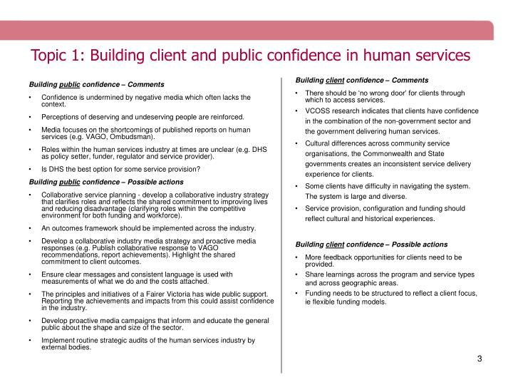 Topic 1: Building client and public confidence in human services
