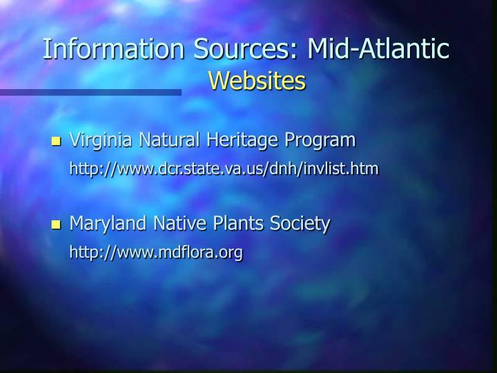 Information Sources: Mid-Atlantic