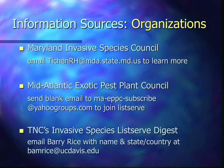 Information Sources: