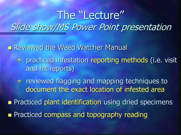 """The """"Lecture"""""""