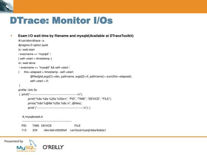 DTrace: Monitor I/Os