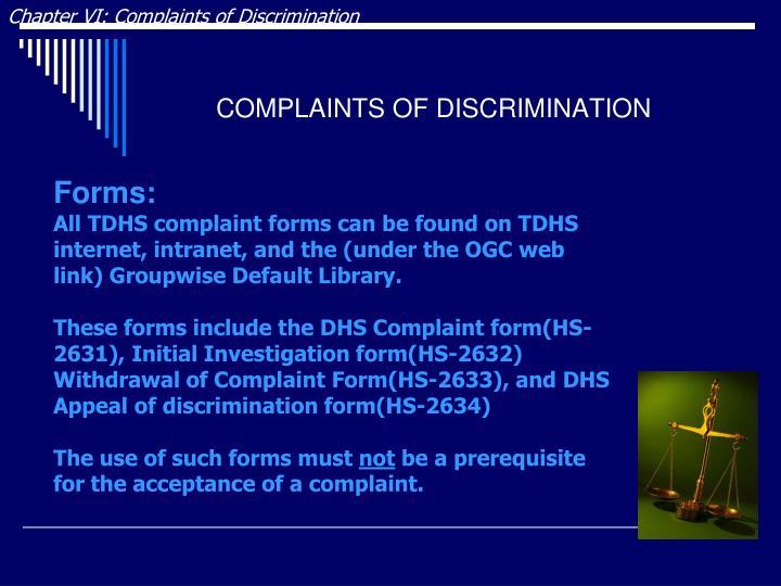 Chapter VI: Complaints of Discrimination