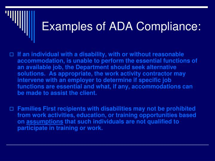 Examples of ADA Compliance: