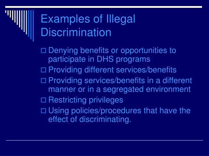 Examples of Illegal Discrimination