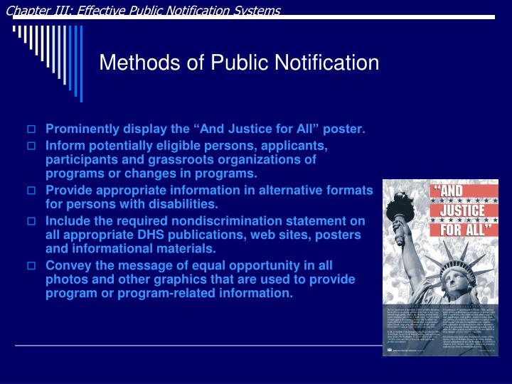 Chapter III: Effective Public Notification Systems