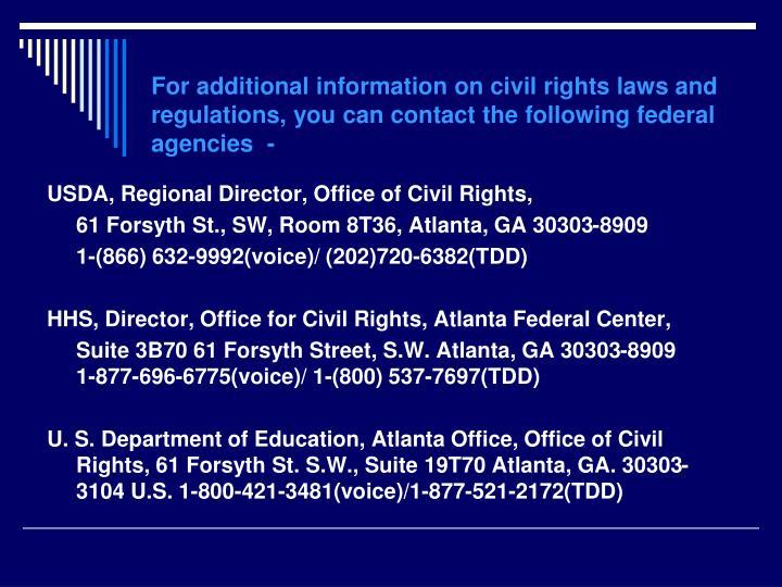 USDA, Regional Director, Office of Civil Rights,