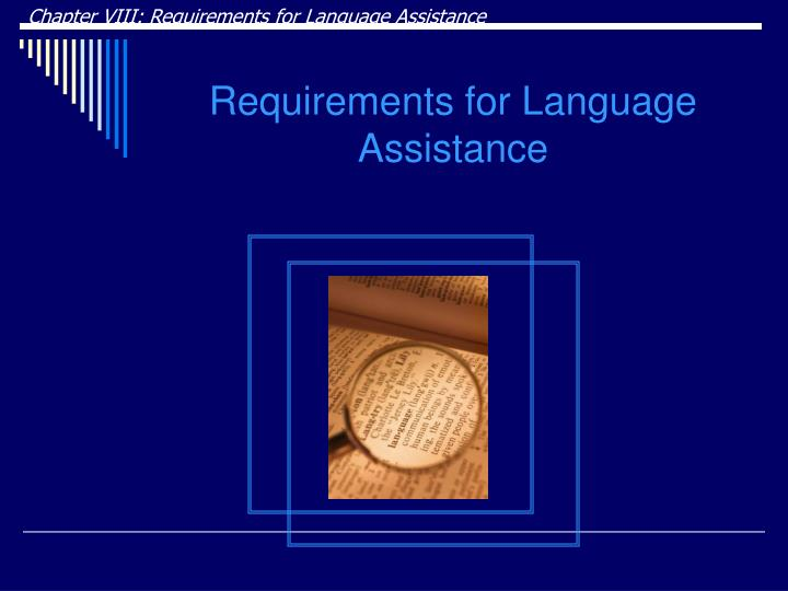 Chapter VIII: Requirements for Language Assistance