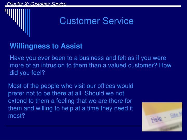 Chapter X: Customer Service