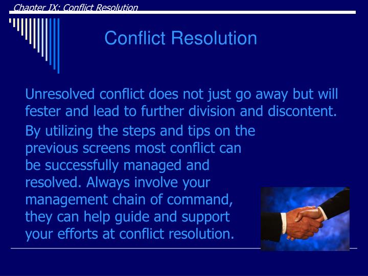 Chapter IX: Conflict Resolution