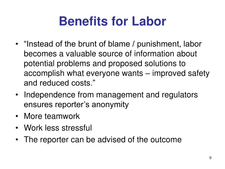 Benefits for Labor