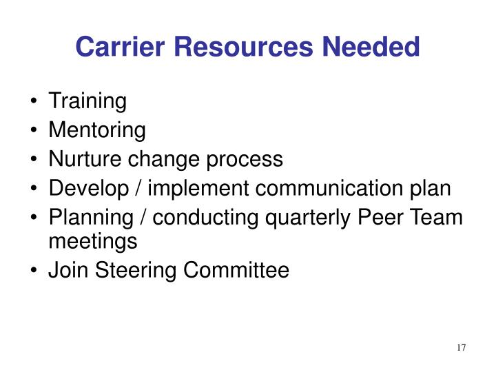 Carrier Resources Needed