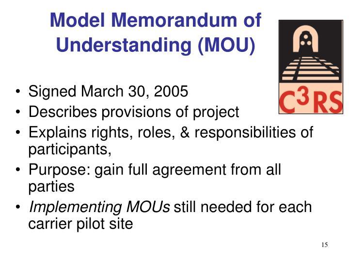 Model Memorandum of Understanding (MOU)