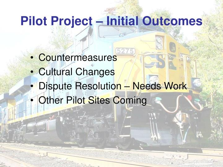 Pilot Project – Initial Outcomes