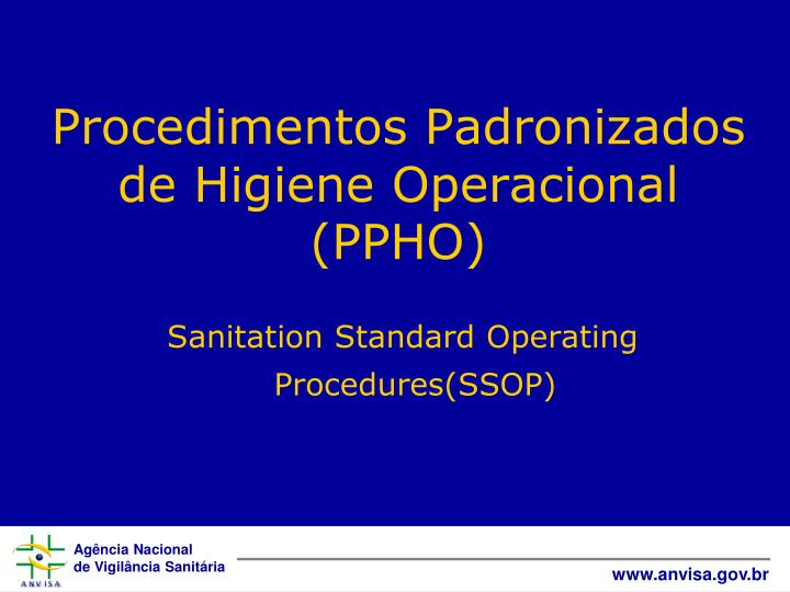 Sanitation Standard Operating Procedures(SSOP)