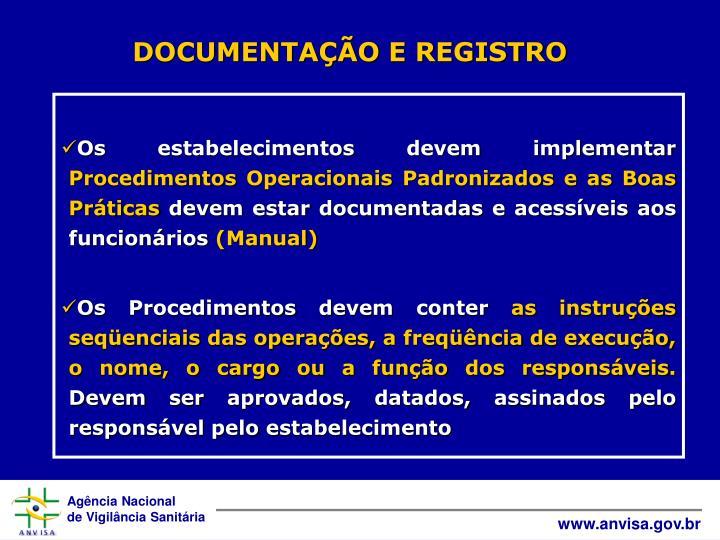 DOCUMENTAÇÃO E REGISTRO
