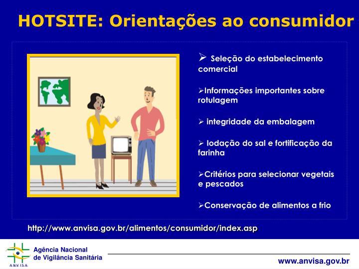 HOTSITE: Orientações ao consumidor