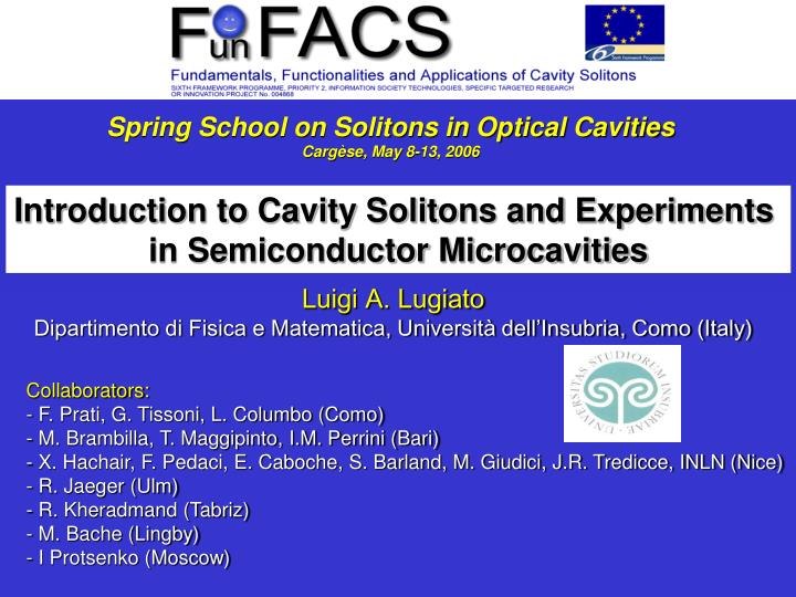 Spring School on Solitons in Optical Cavities