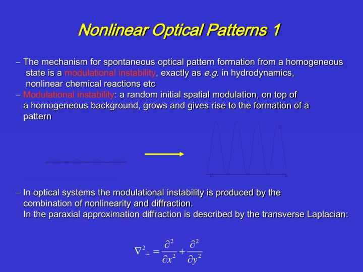 Nonlinear Optical Patterns 1