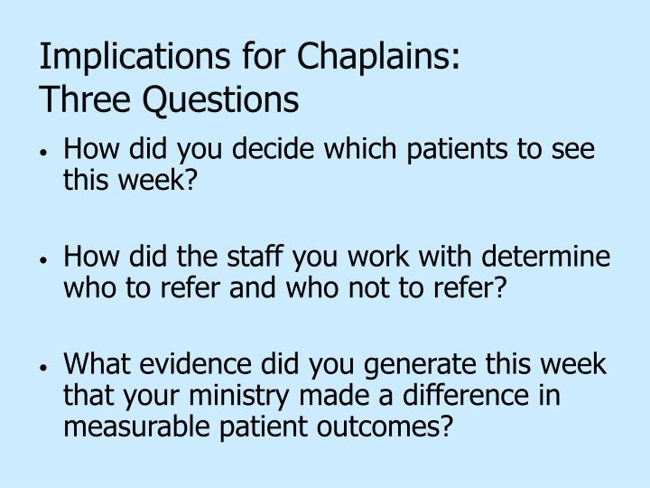 Implications for Chaplains: