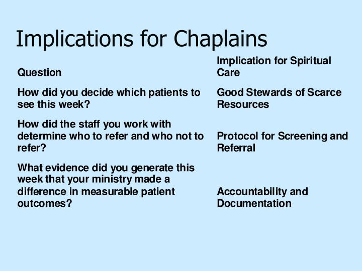Implications for Chaplains