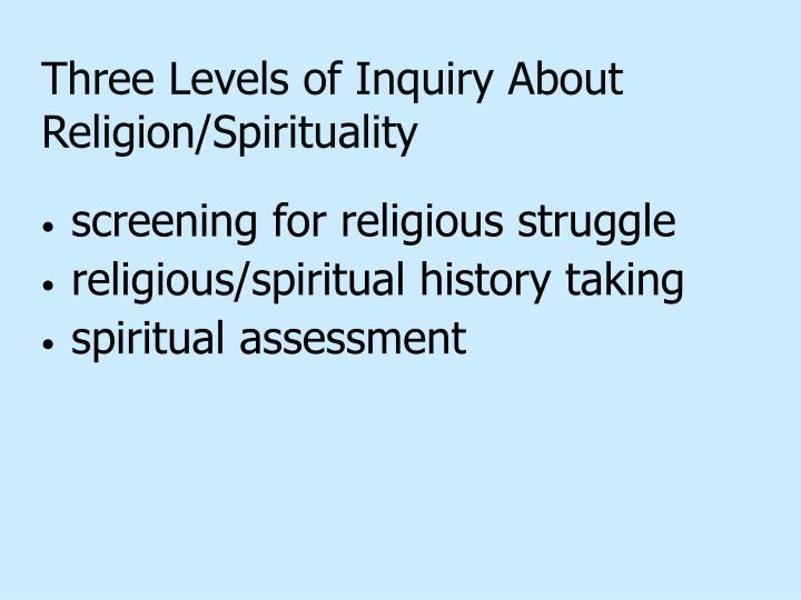 Three Levels of Inquiry About Religion/Spirituality