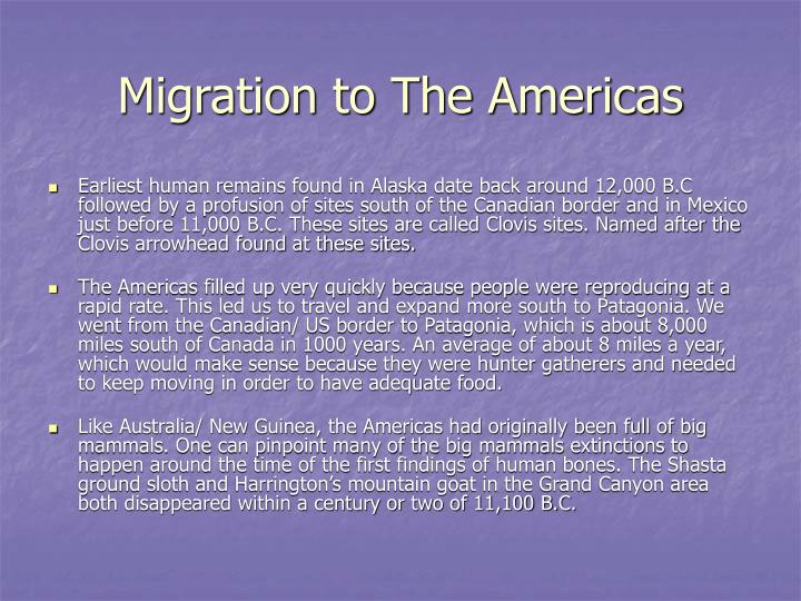 Migration to The Americas