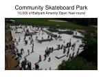 community skateboard park 10 000 sf ballpark amenity open year round