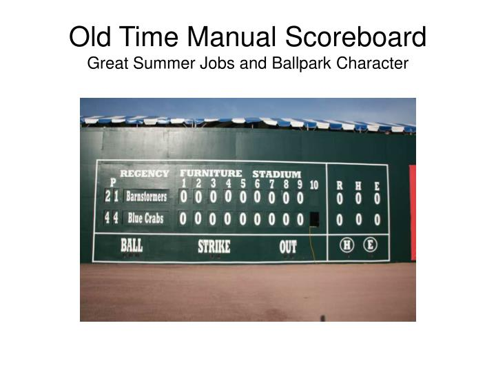 Old Time Manual Scoreboard