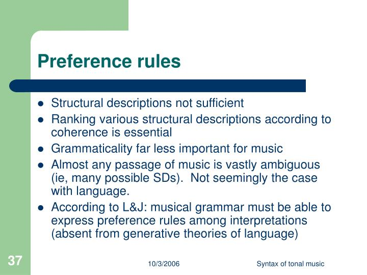 Preference rules