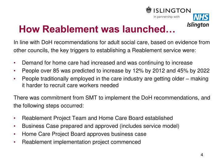 How Reablement was launched…