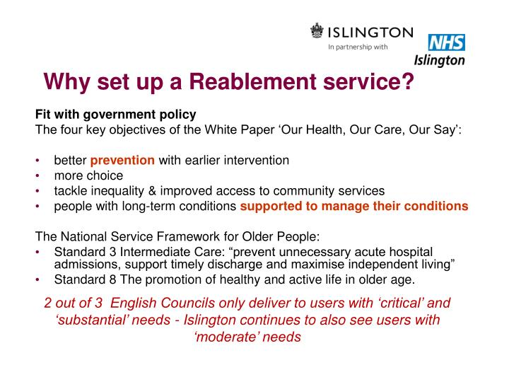 Why set up a Reablement service?