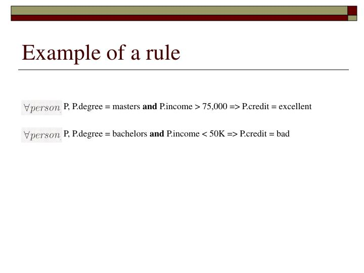 Example of a rule