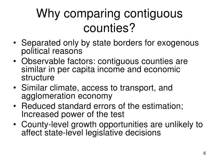 Why comparing contiguous counties?