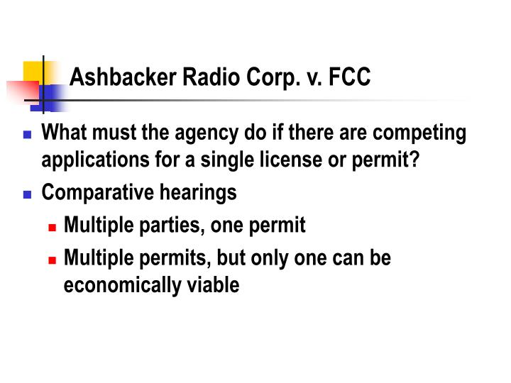 Ashbacker Radio Corp. v. FCC