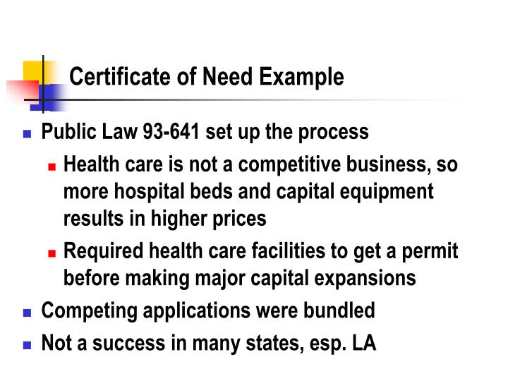 Certificate of Need Example