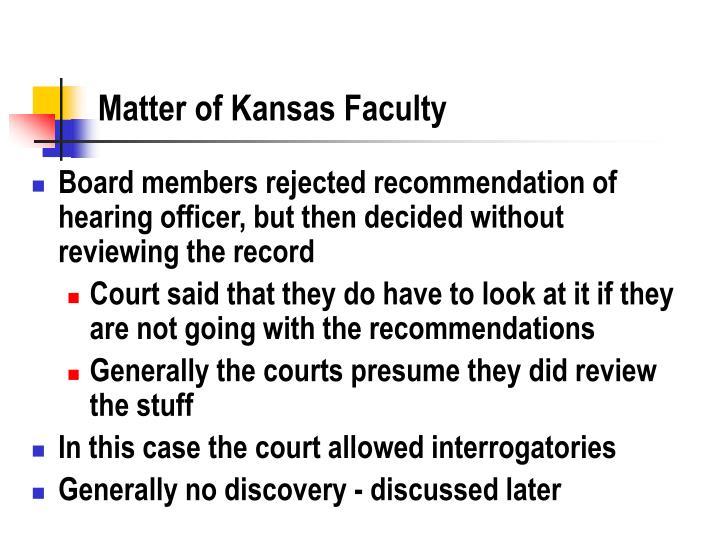 Matter of Kansas Faculty