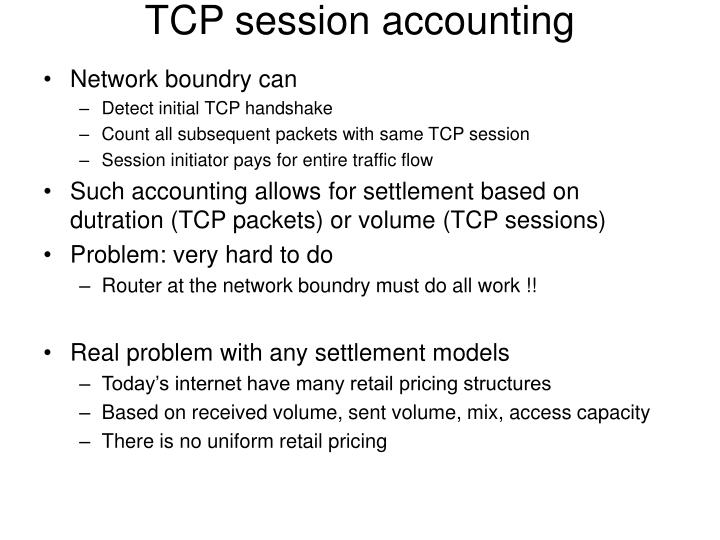 TCP session accounting