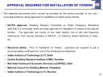 approval required for installation of towers