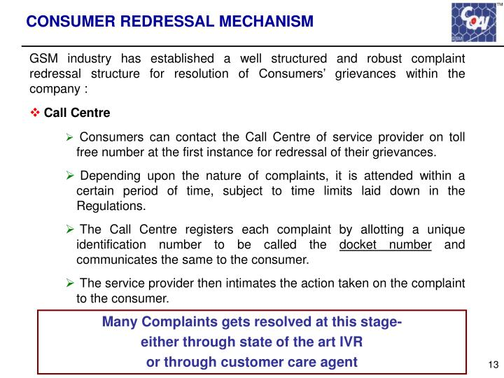 CONSUMER REDRESSAL MECHANISM